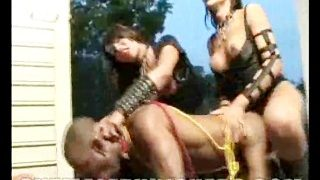 Baddest shemale dommes gangbanging this poor helpless guy
