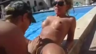 Group sex at the pool