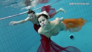 Sara and Gazel swimming naked