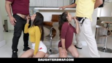 DaughterSwap – Horny Teen Besties Fuck Eachothers Dads