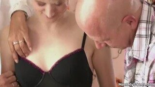 He finds his GF riding his dad's cock