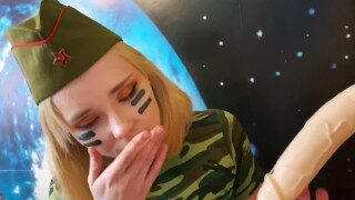 Sweetie fox mastutbating and sucking dildo in military outfit – SOLO